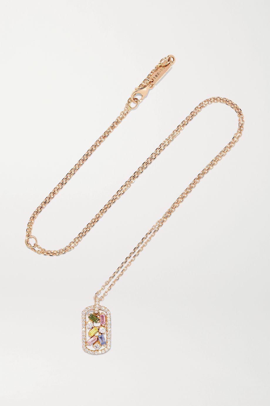 Suzanne Kalan 18-karat rose gold, sapphire and diamond necklace