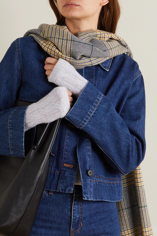 Johnstons of Elgin + NET SUSTAIN fingerlose Handschuhe aus Kaschmir in Zopfstrick