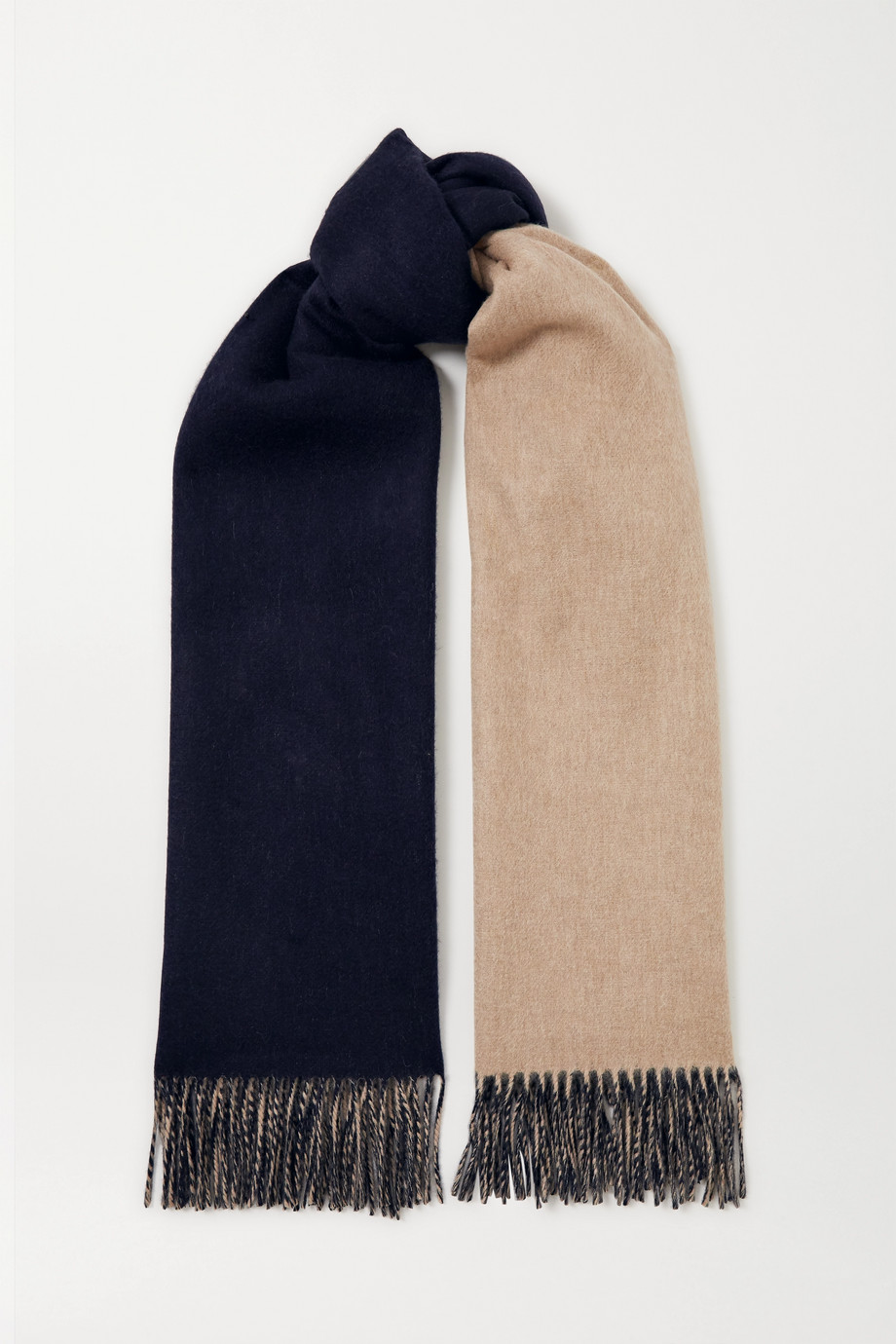Johnstons of Elgin + NET SUSTAIN reversible fringed cashmere scarf