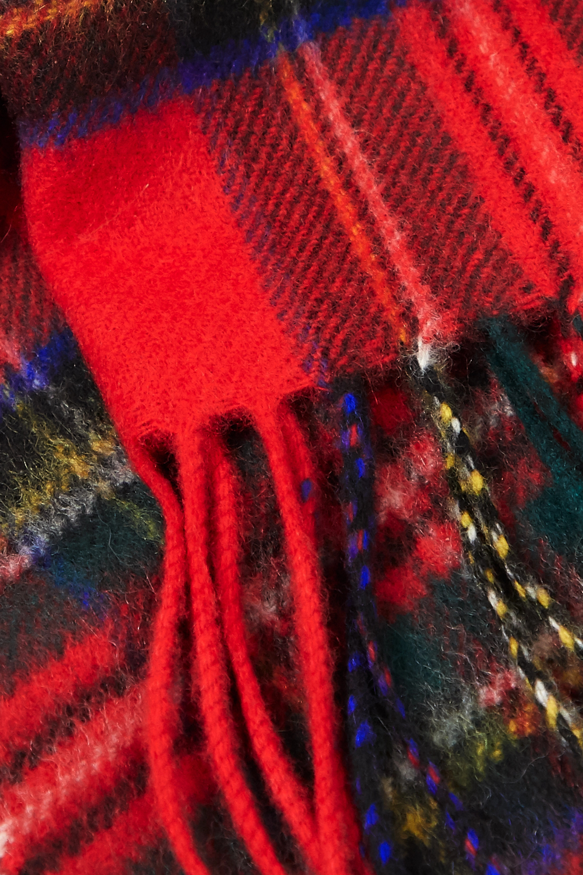 Johnstons of Elgin + NET SUSTAIN fringed checked cashmere scarf