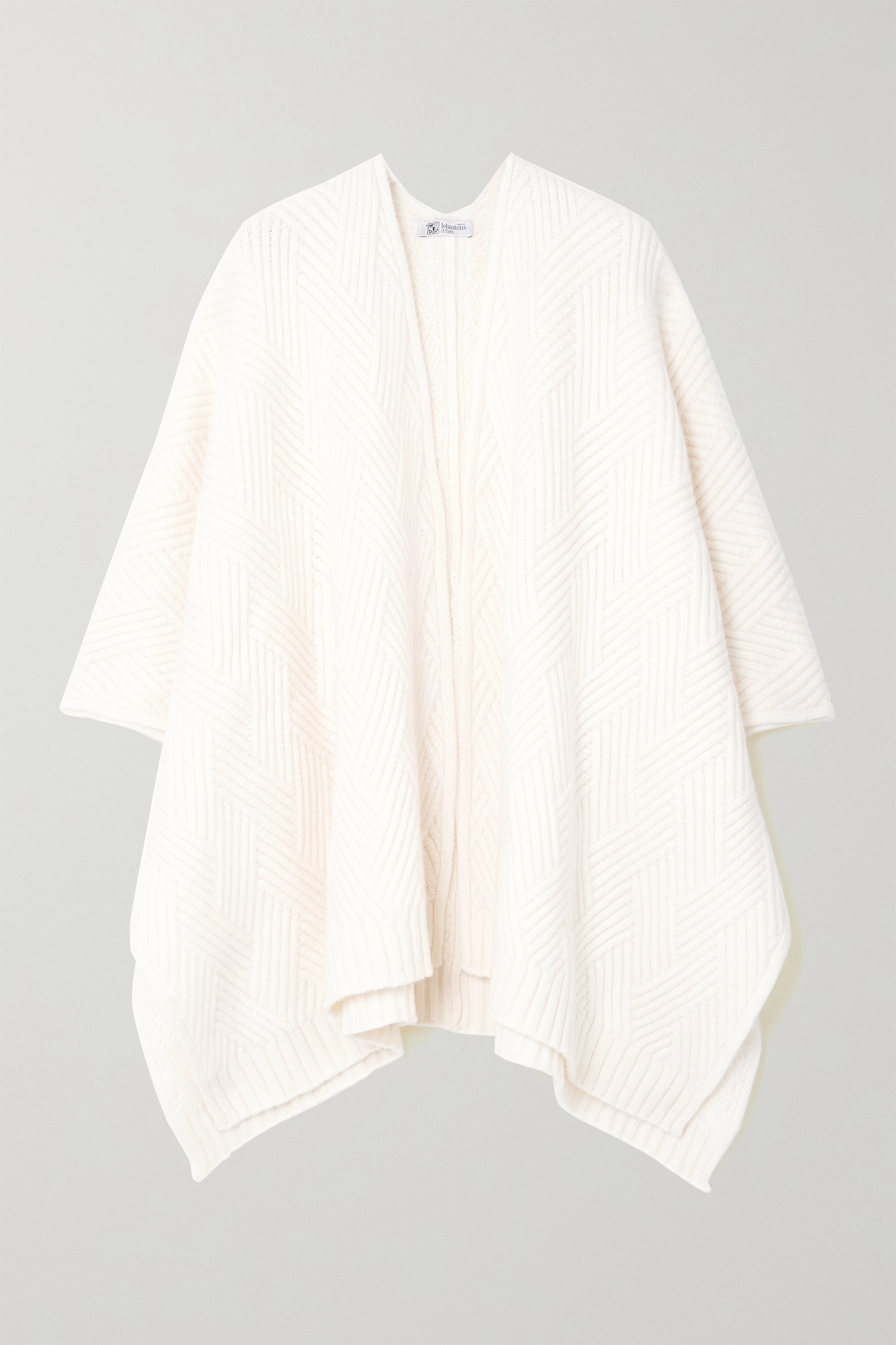 Johnstons of Elgin + NET SUSTAIN Hanna ribbed cashmere wrap