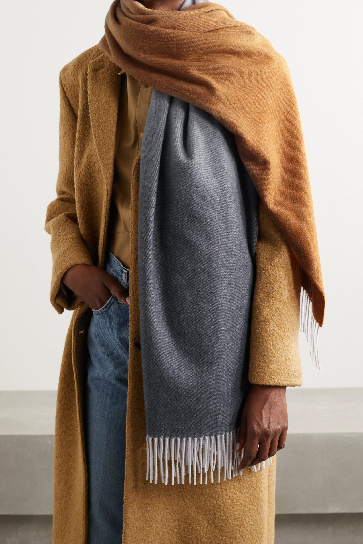 Johnstons of Elgin + NET SUSTAIN fringed ombré cashmere scarf