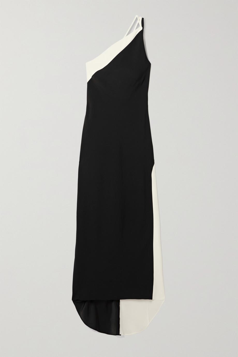 De La Vali Robe du soir asymétrique en crêpe bicolore Evita