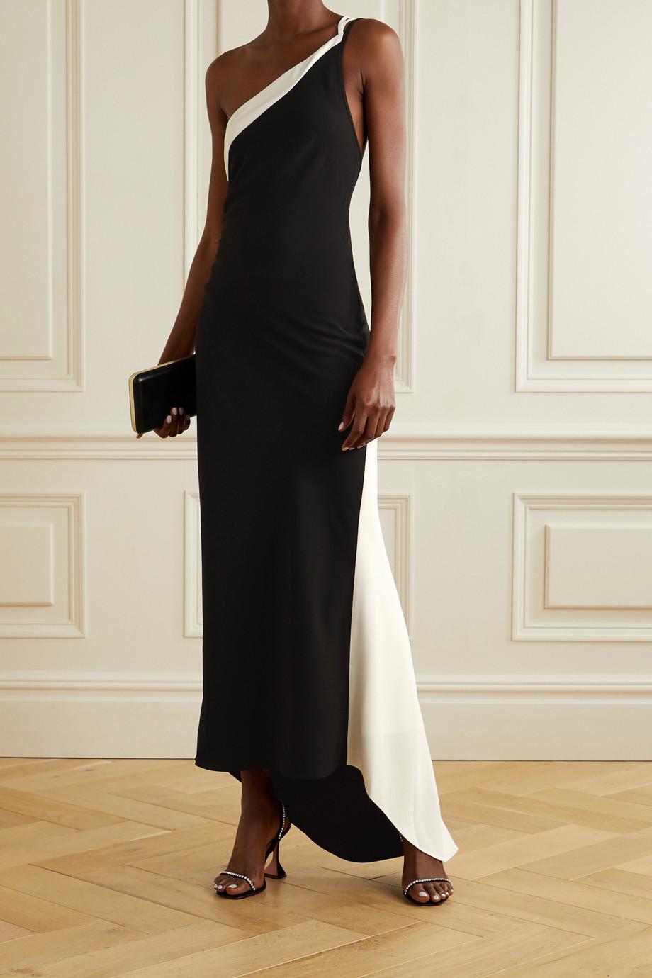 De La Vali Evita one-shoulder two-tone crepe gown