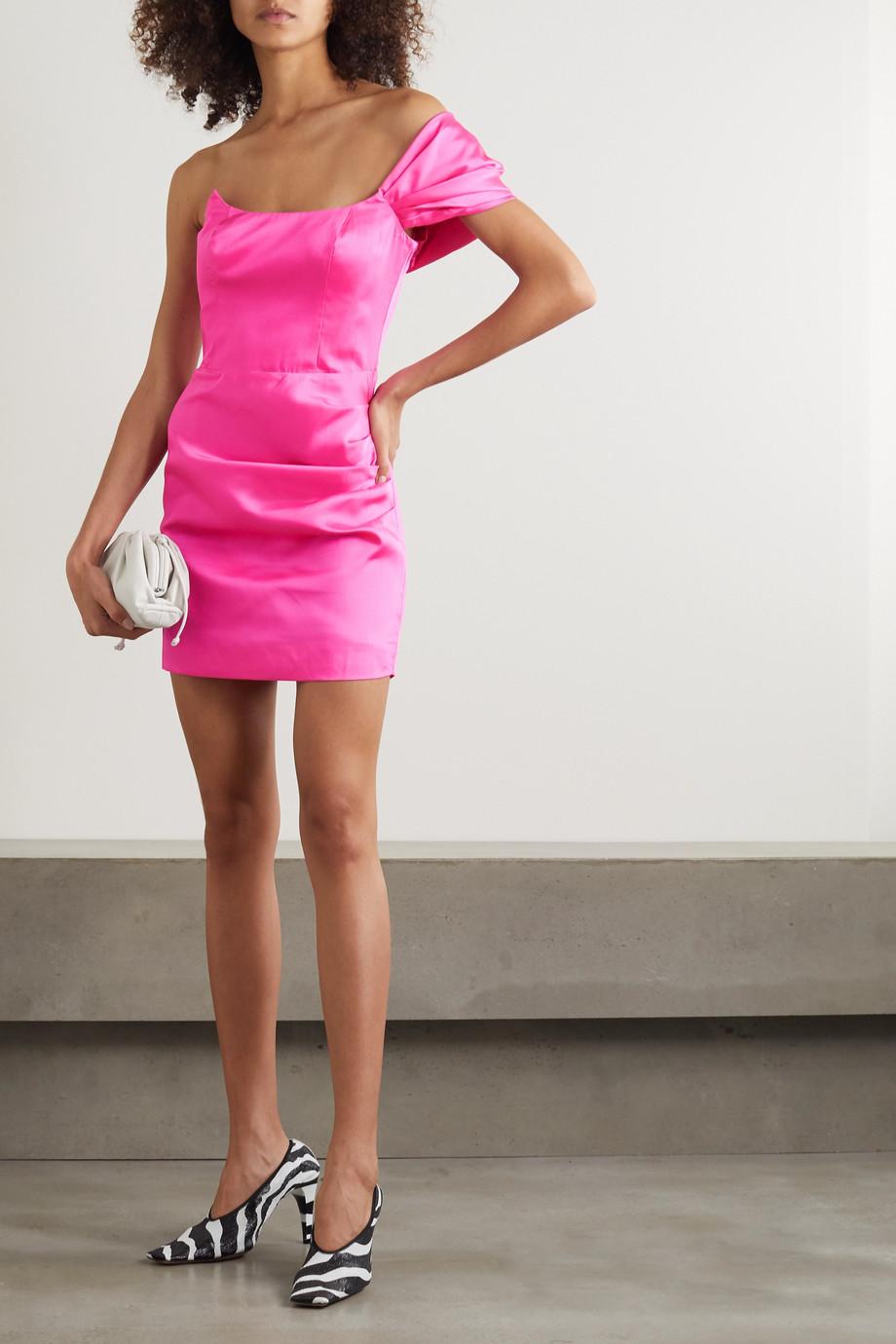De La Vali Mini-robe asymétrique en satin à fronces Maggie