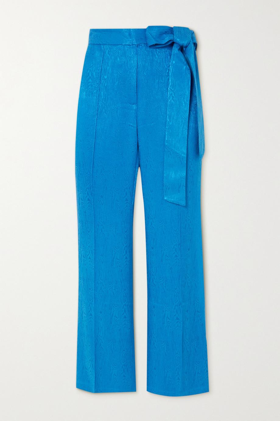 USISI SISTER Jenna cropped bow-detailed jacquard slim-leg pants