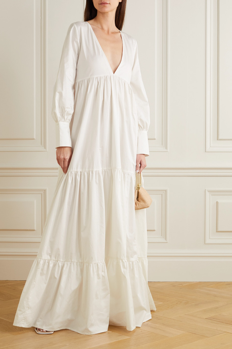 Kalita Circle Day tiered cotton-poplin maxi dress