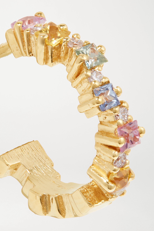 Suzanne Kalan 18-karat gold, sapphire and diamond hoop earrings