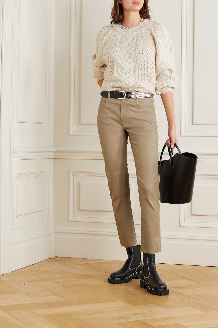 Isabel Marant Étoile Tea Hose mit geradem Bein aus Leder