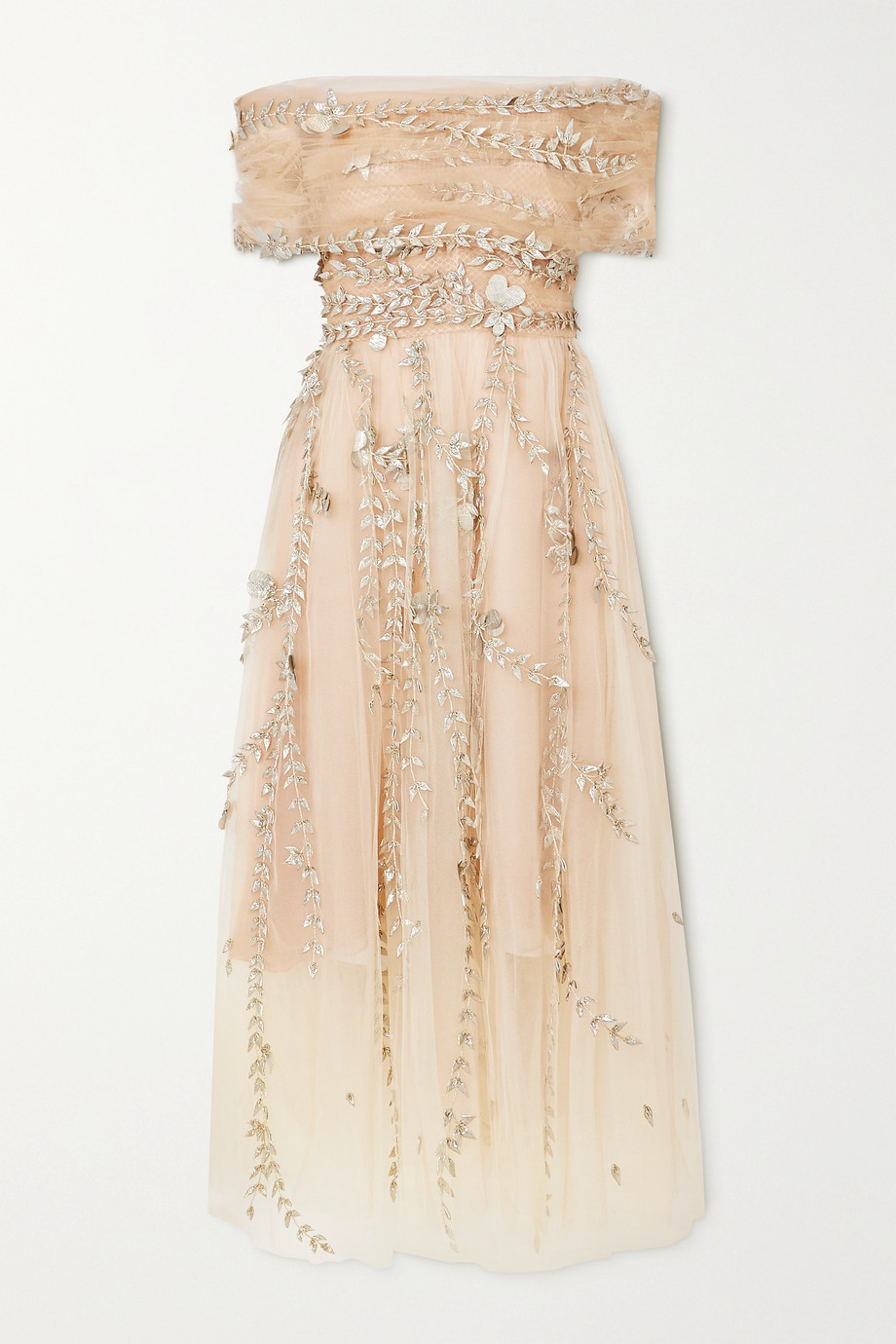 Oscar de la Renta Off-the-shoulder embroidered embellished tulle midi dress