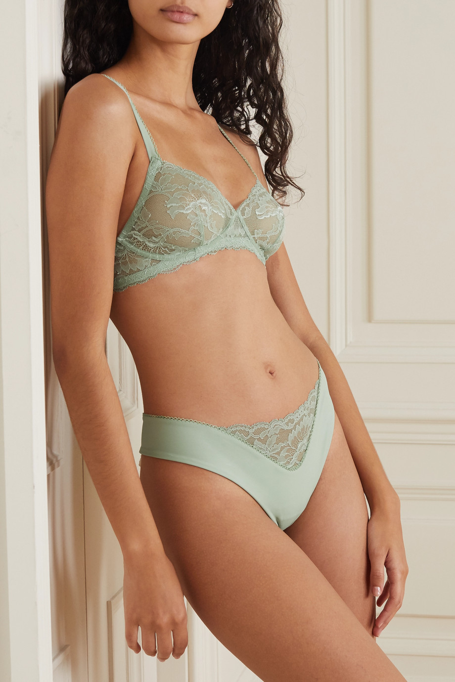 La Perla Good Vibrations jersey and stretch-lace thong