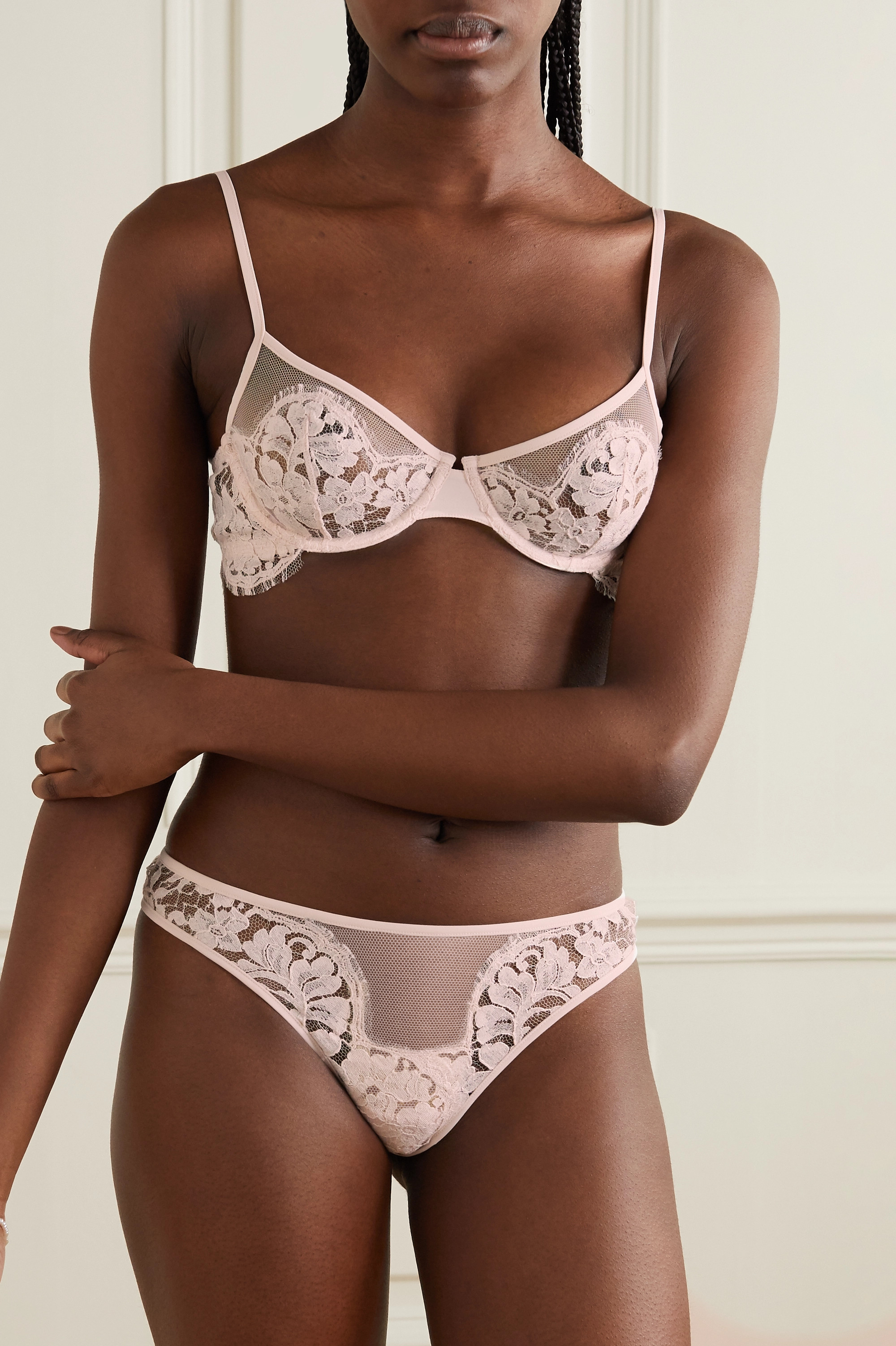 La Perla Fall In Love cotton-blend Leavers lace and stretch-tulle underwired bra