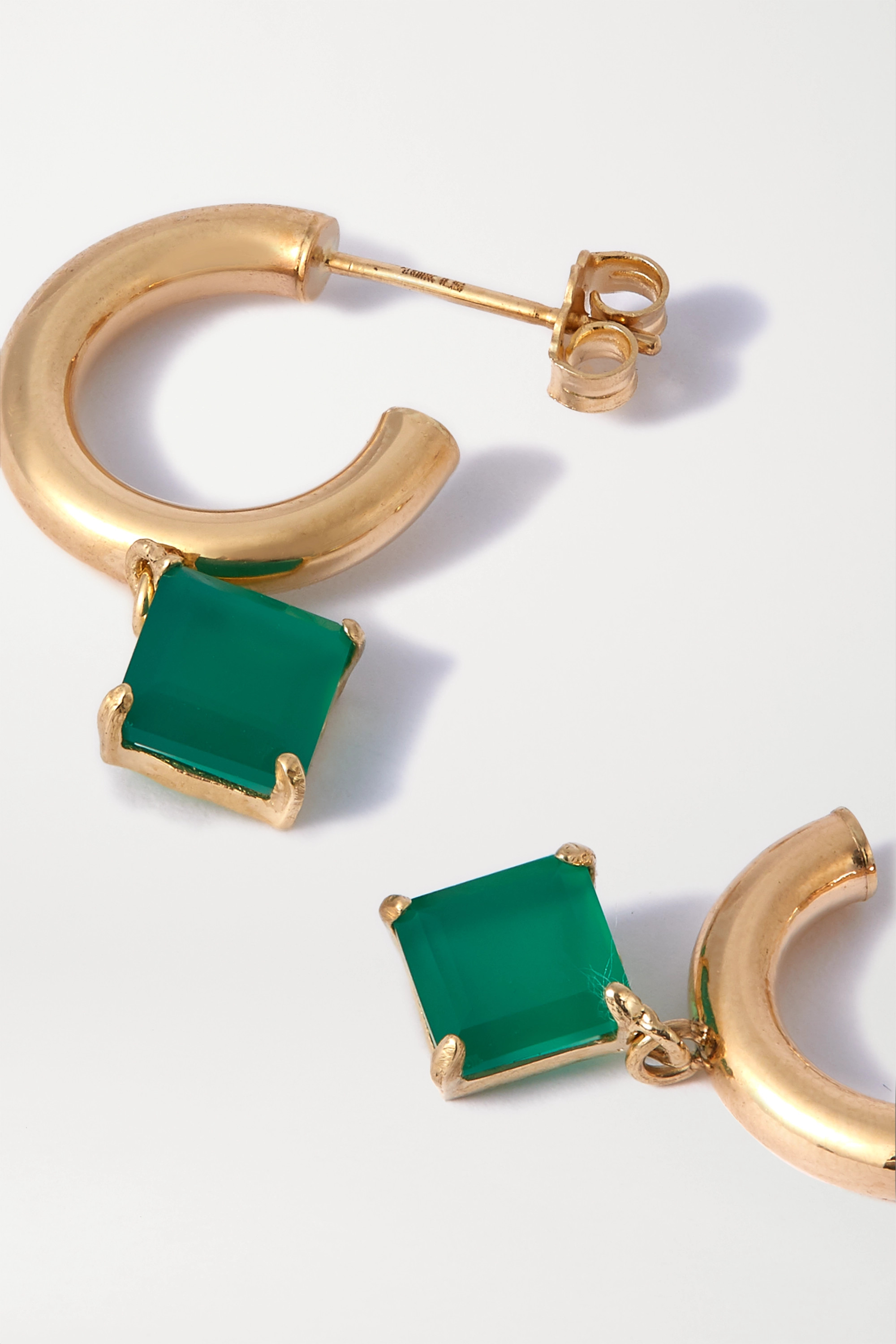 Loren Stewart Melrose gold agate hoop earrings