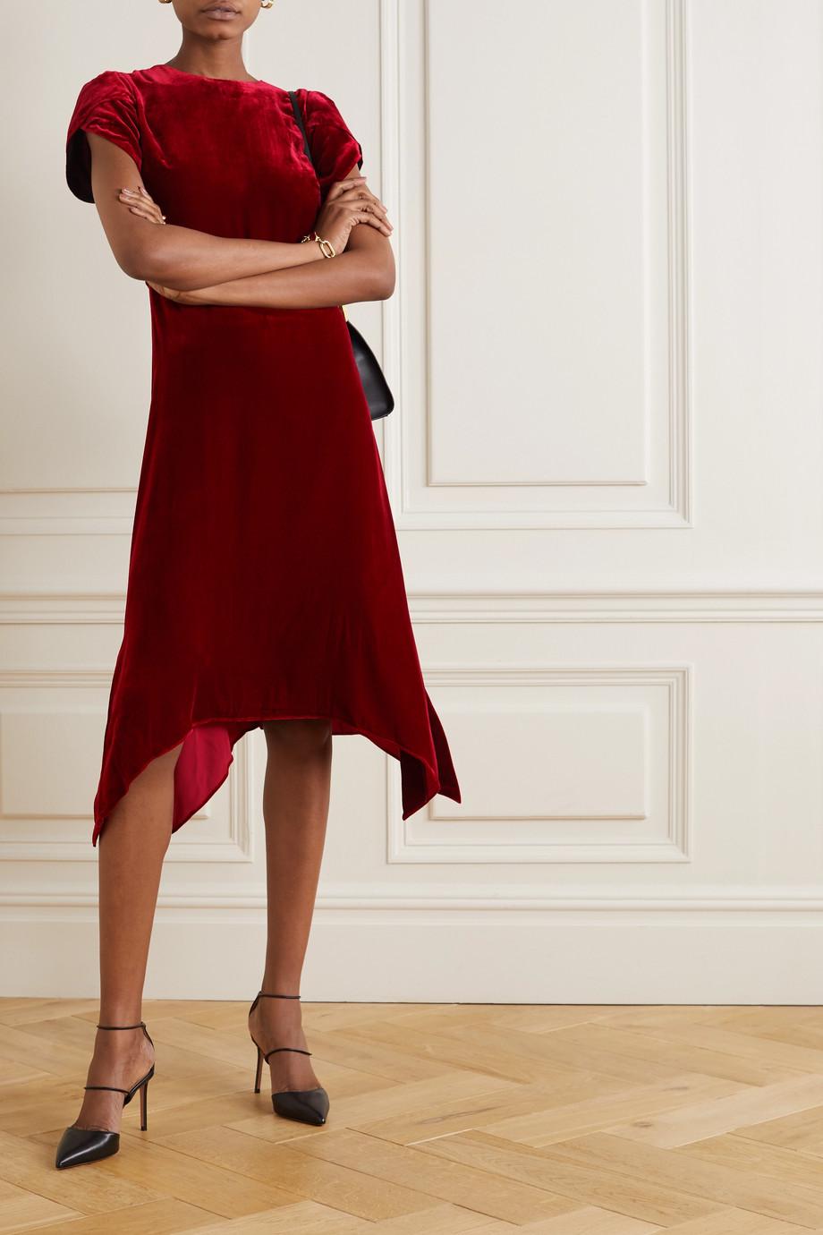 Cefinn Emily asymmetrisches Kleid aus Samt