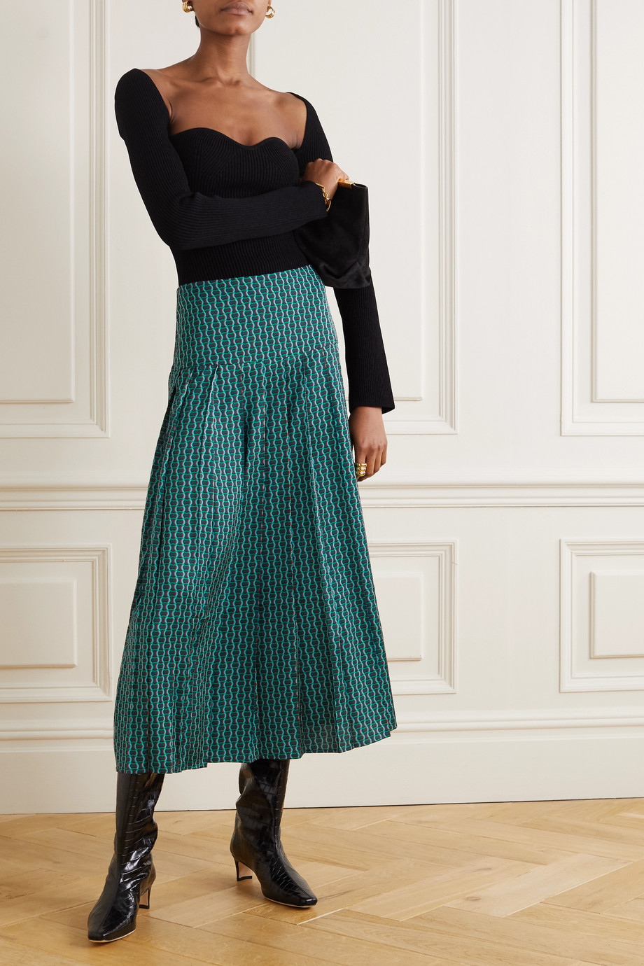 Cefinn Sienna pleated printed crepe de chine midi skirt