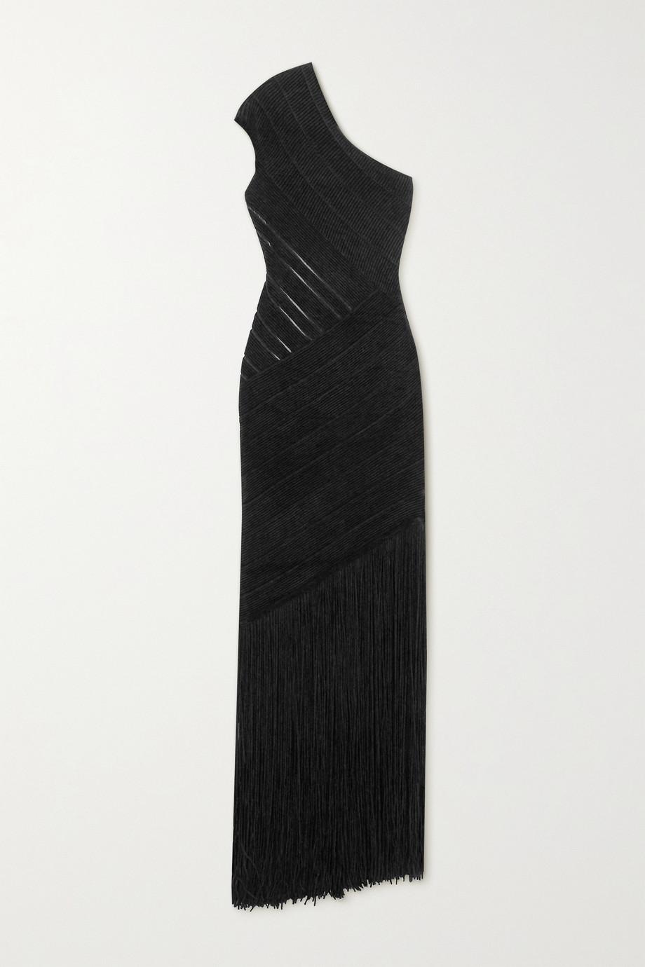 Hervé Léger One-shoulder fringed velour bandage gown