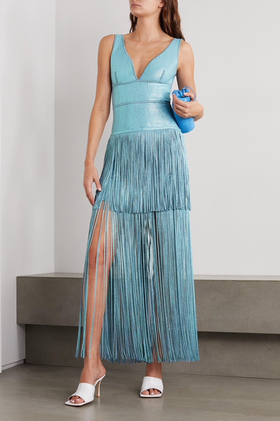 Hervé Léger Fringed metallic bandage gown