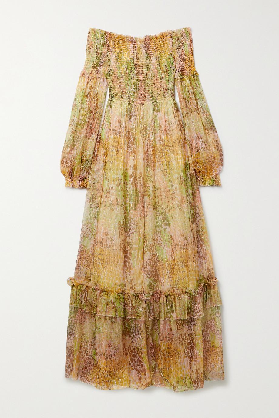 Dundas Shirred printed silk and Lurex-blend crepon maxi dress