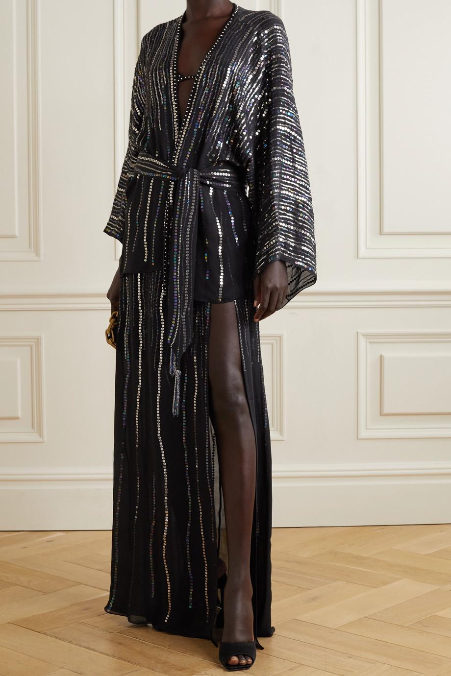 Dundas India belted sequin-embellished silk-georgette jacket