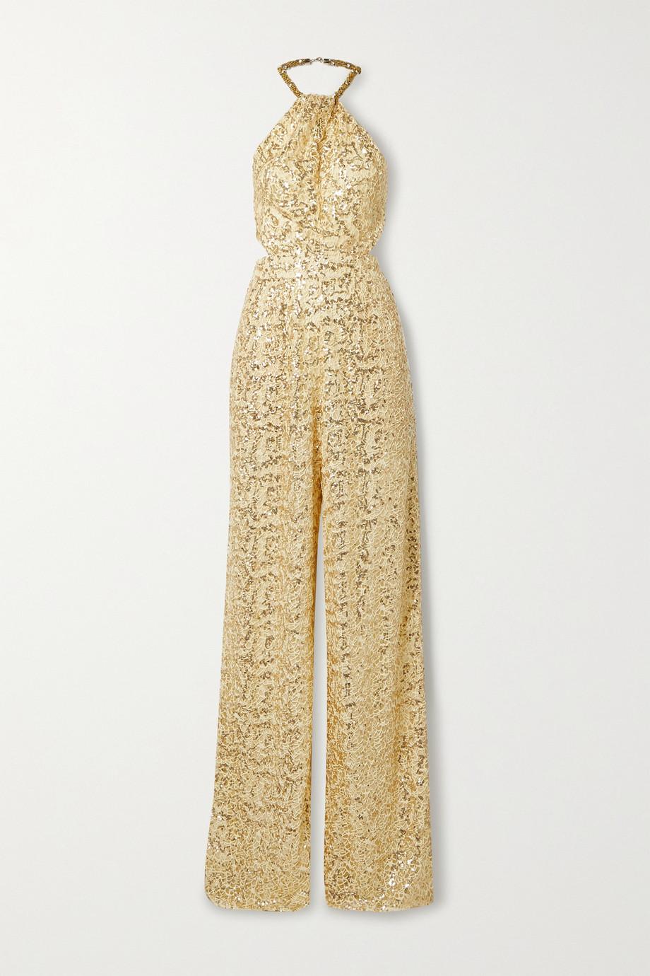 Dundas Embellished crochet and silk-georgette halterneck jumpsuit