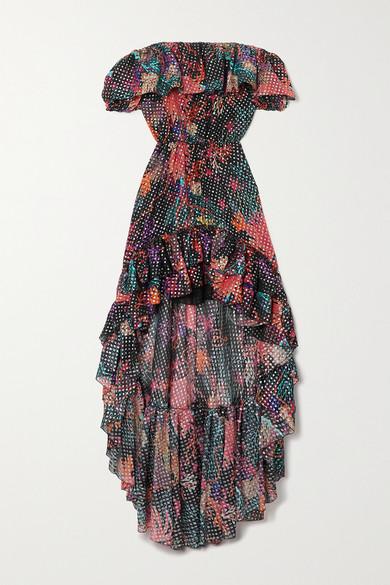 Dundas OFF-THE-SHOULDER RUFFLED PRINTED METALLIC FIL COUPÉ SILK-BLEND GEORGETTE DRESS