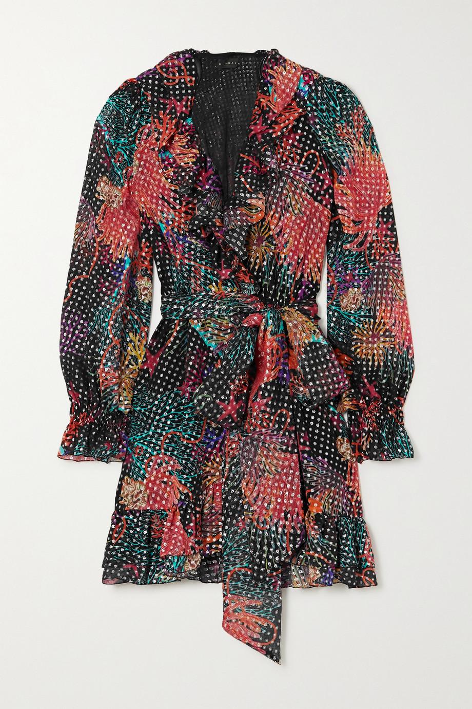 Dundas Minikleid aus Georgette aus einer Seidenmischung mit Metallic-Fil-Coupé, Wickeleffekt und Rüschen