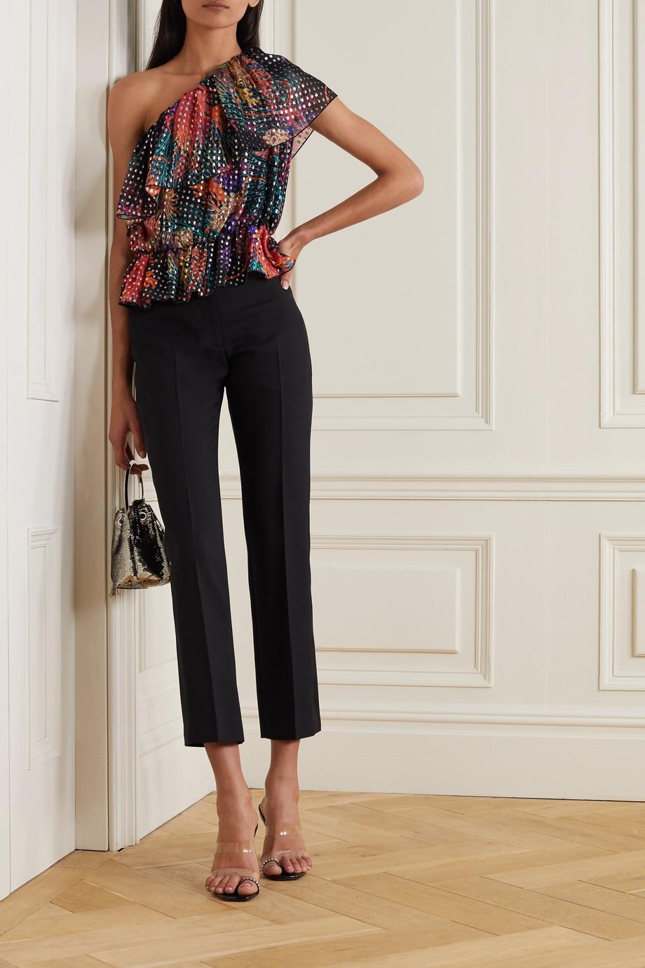 Dundas One-shoulder ruffled metallic fil coupé silk-blend georgette blouse