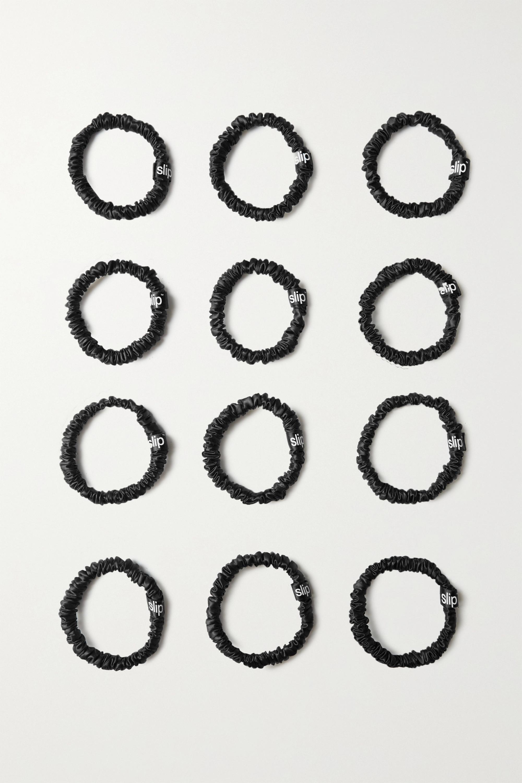Slip Twice as Nice Set aus 12 schmalen Haargummis aus Seide