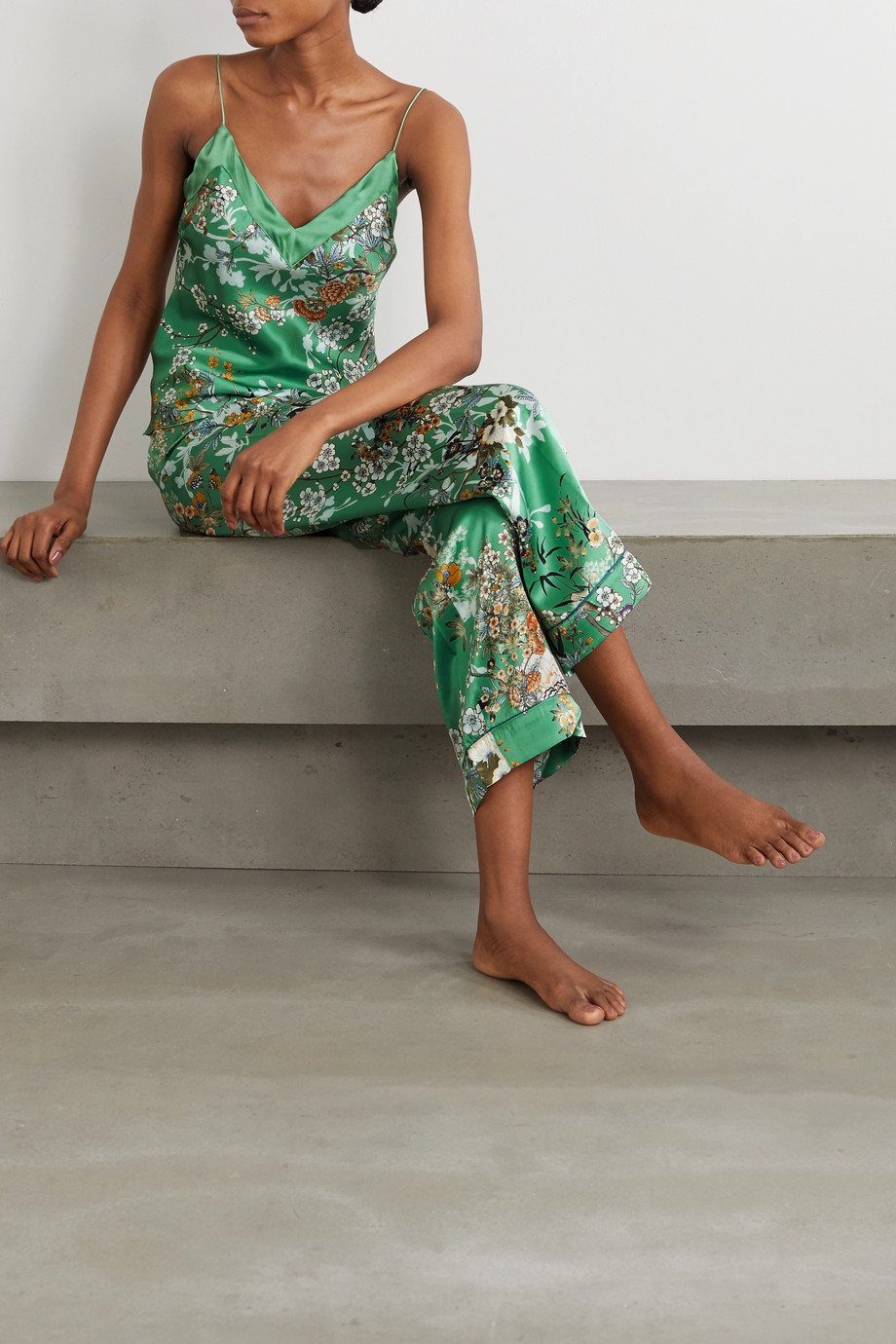 MENG Floral-print silk-satin camisole