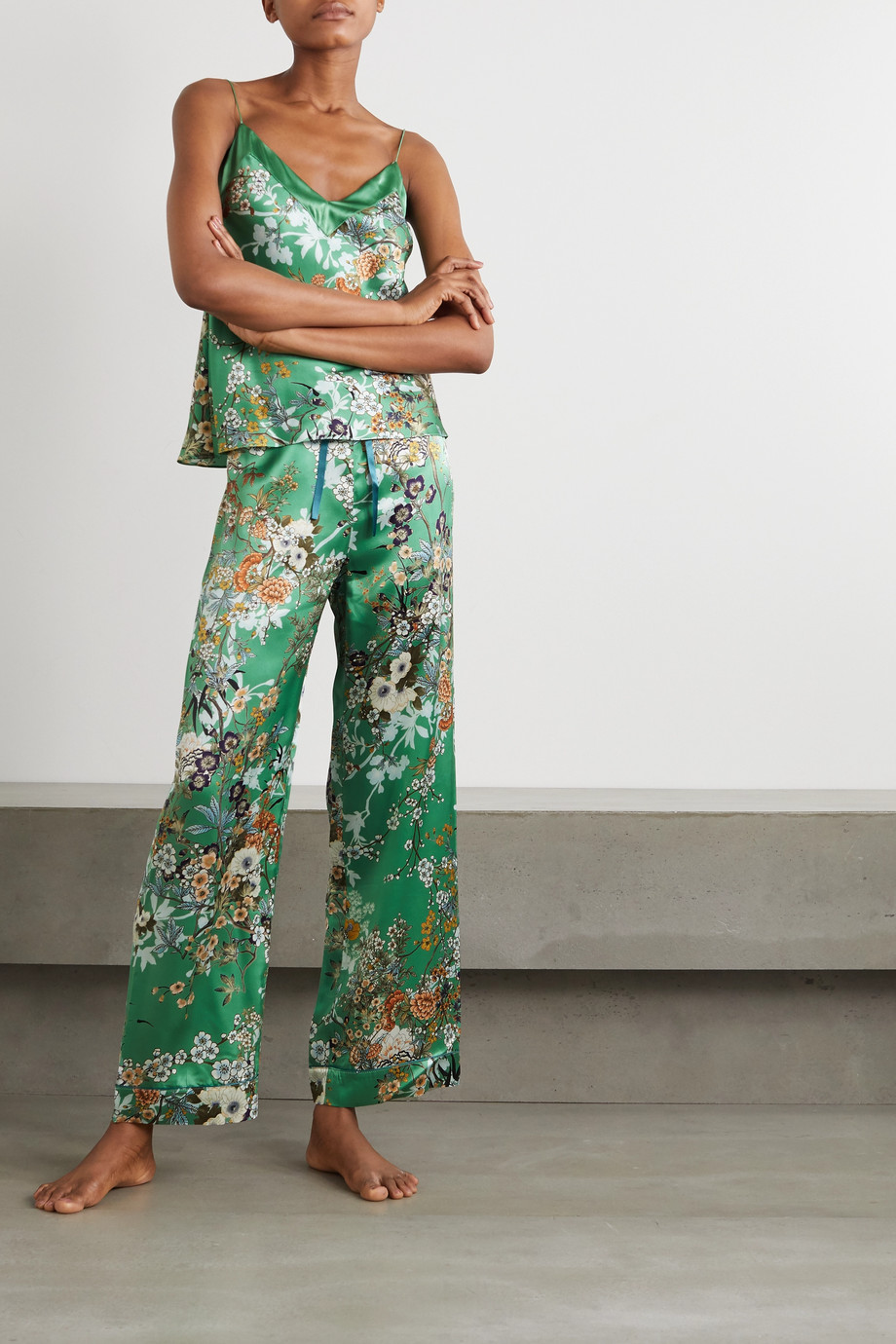 MENG 花卉印花丝缎睡裤
