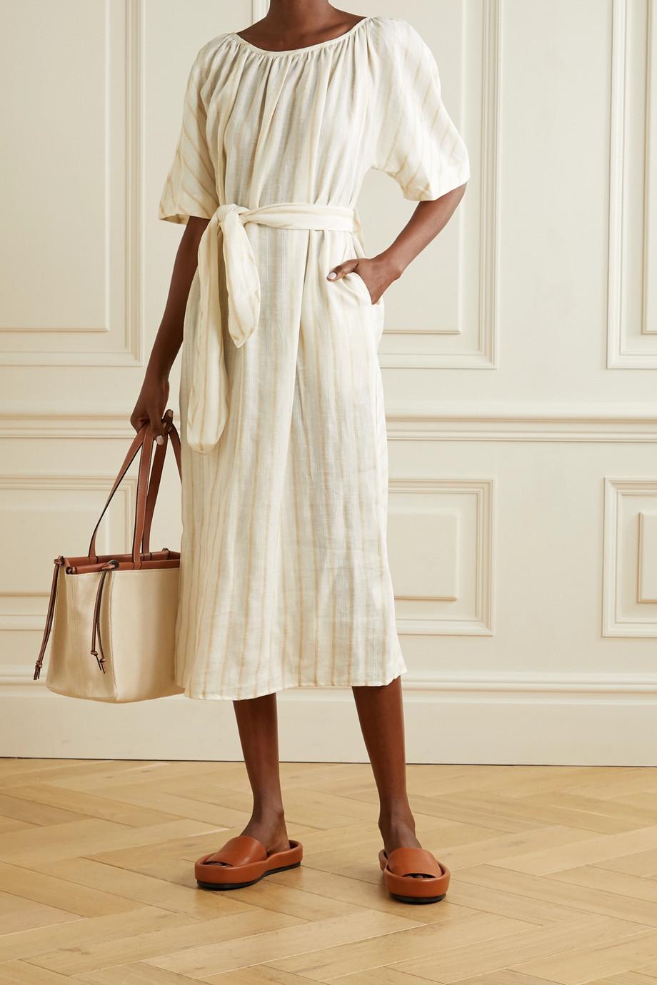 Mara Hoffman Aliz belted striped linen and TENCEL Lyocell-blend midi dress