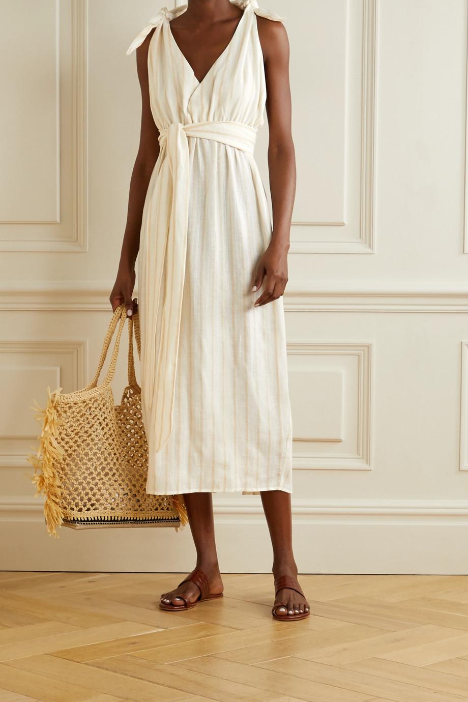 Mara Hoffman Calypso 配腰带条纹亚麻天丝莱赛尔纤维混纺中长连衣裙