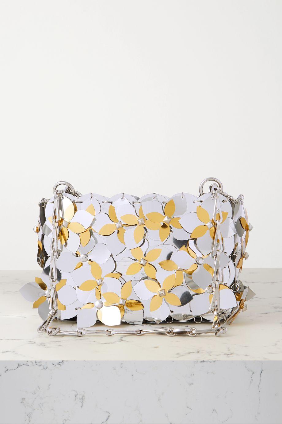 Paco Rabanne Sac porté épaule en cotte de mailles à paillettes Sparkle Nano Lily