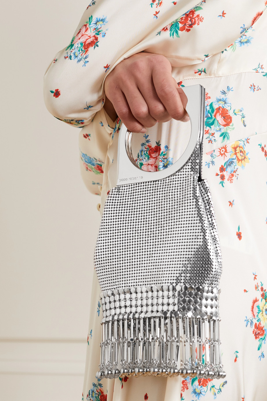 Paco Rabanne Op'Art fringed chainmail tote