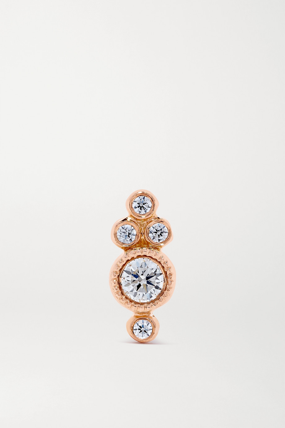 MARIA TASH 4mm 18-karat rose gold diamond earring