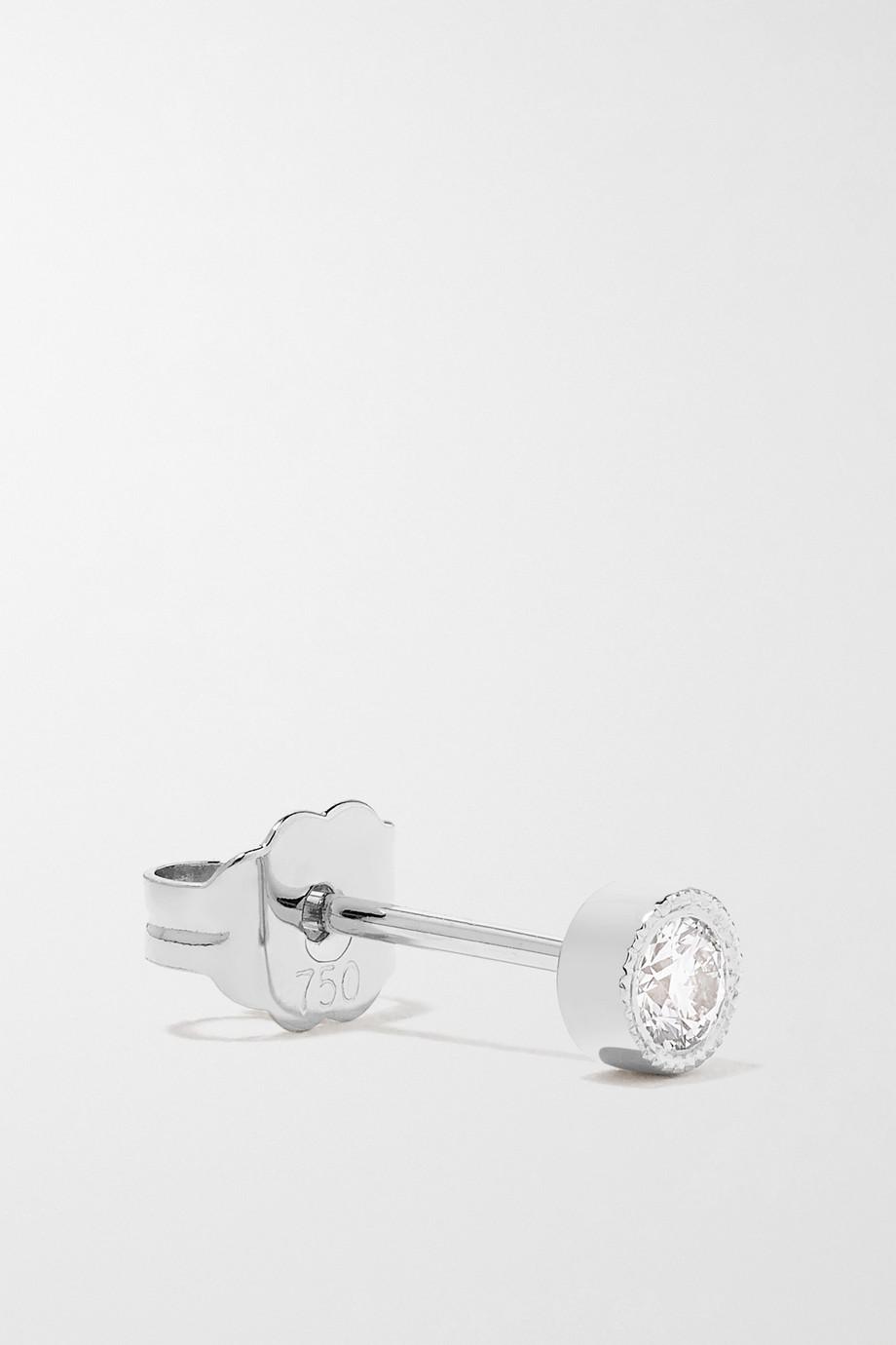 MARIA TASH Scalloped 2.5mm 18-karat white gold diamond earring