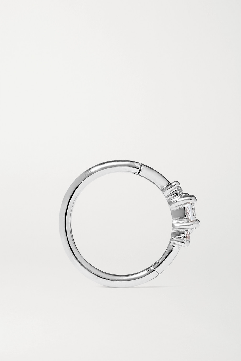 MARIA TASH 8mm 18-karat white gold diamond hoop earring