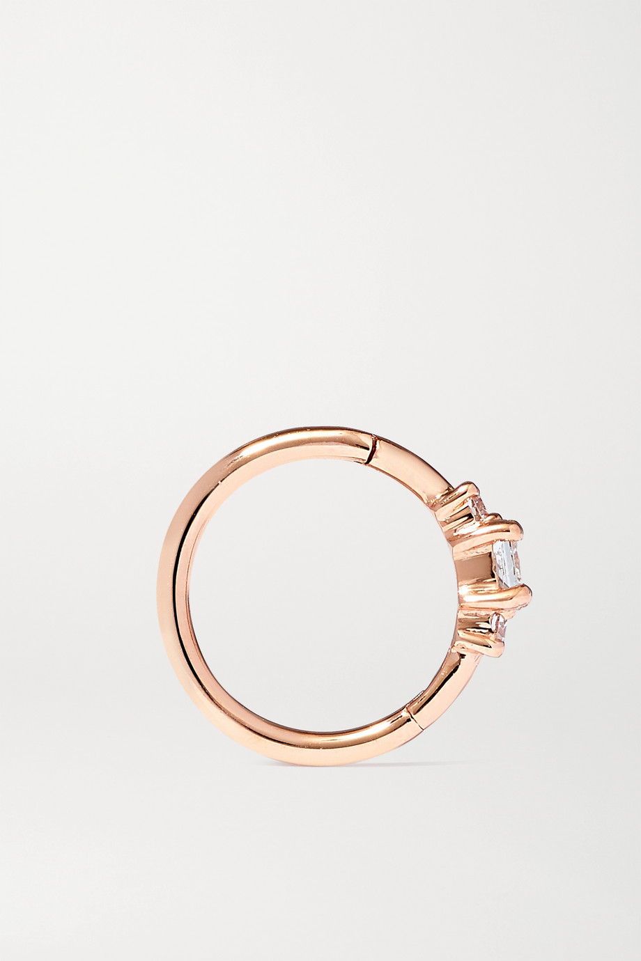 MARIA TASH 18-karat rose gold diamond hoop earring