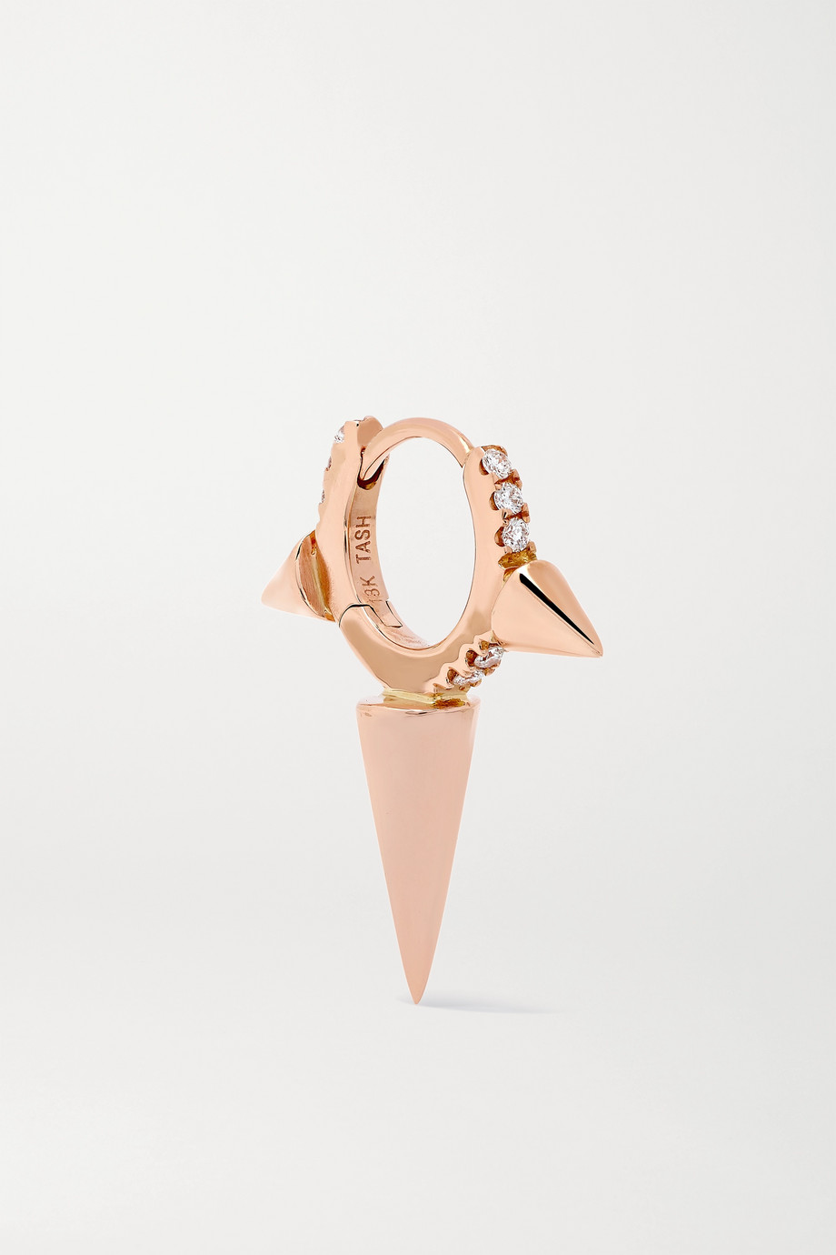 MARIA TASH Triple Spike 6.5mm 18-karat rose gold diamond earring