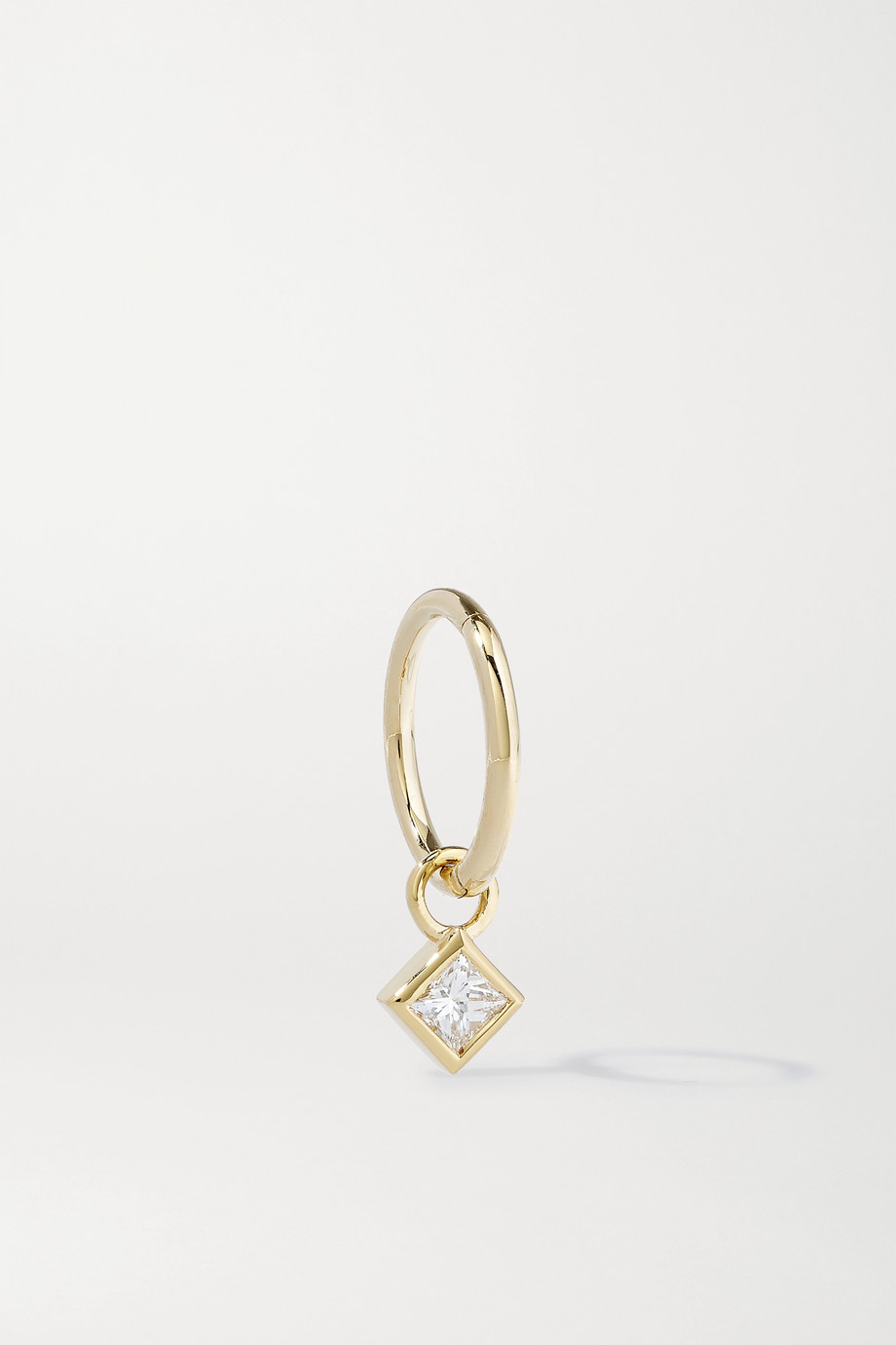 MARIA TASH 2.5mm 18-karat gold diamond hoop earring