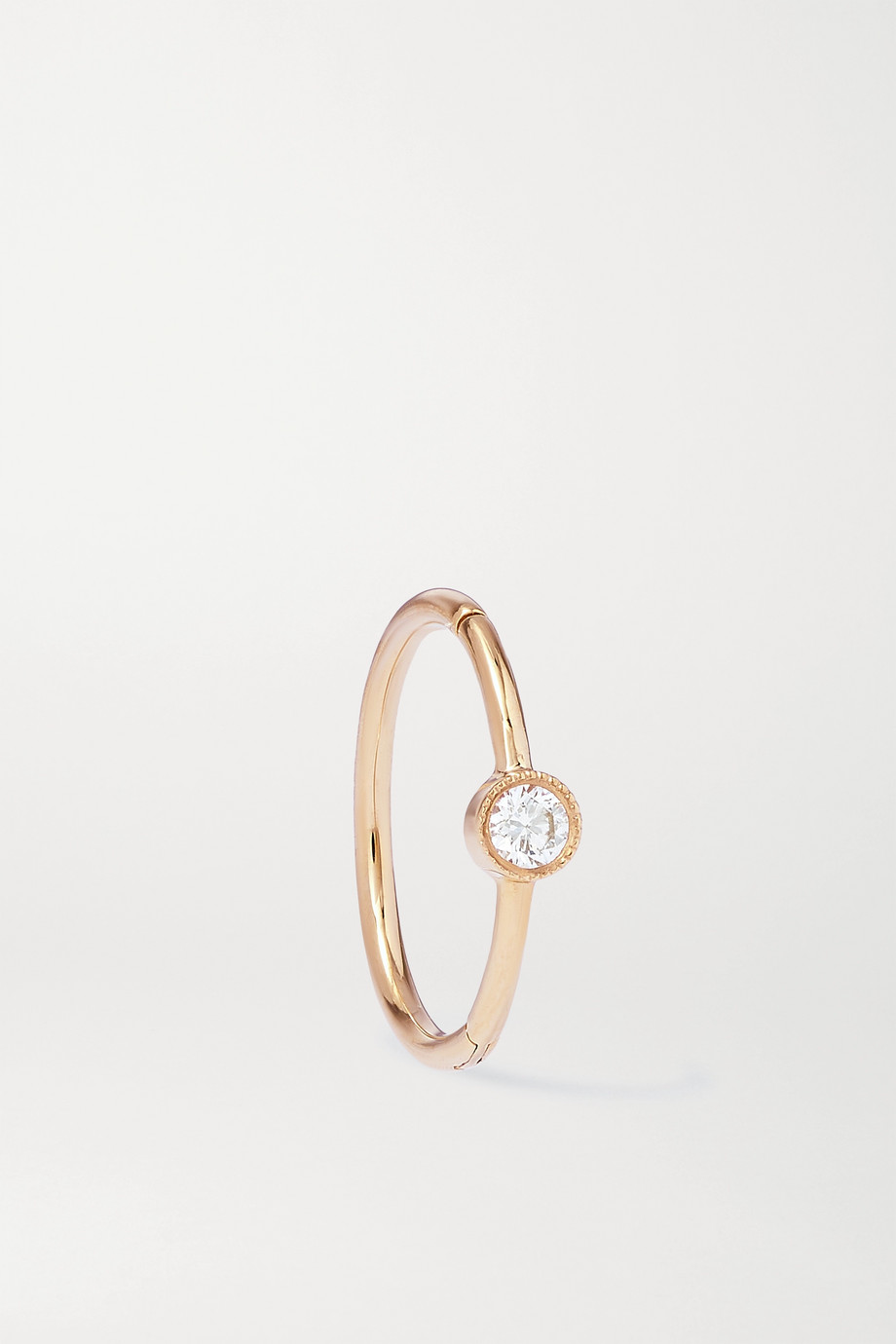 MARIA TASH 9.5mm 18-karat rose gold diamond hoop earring