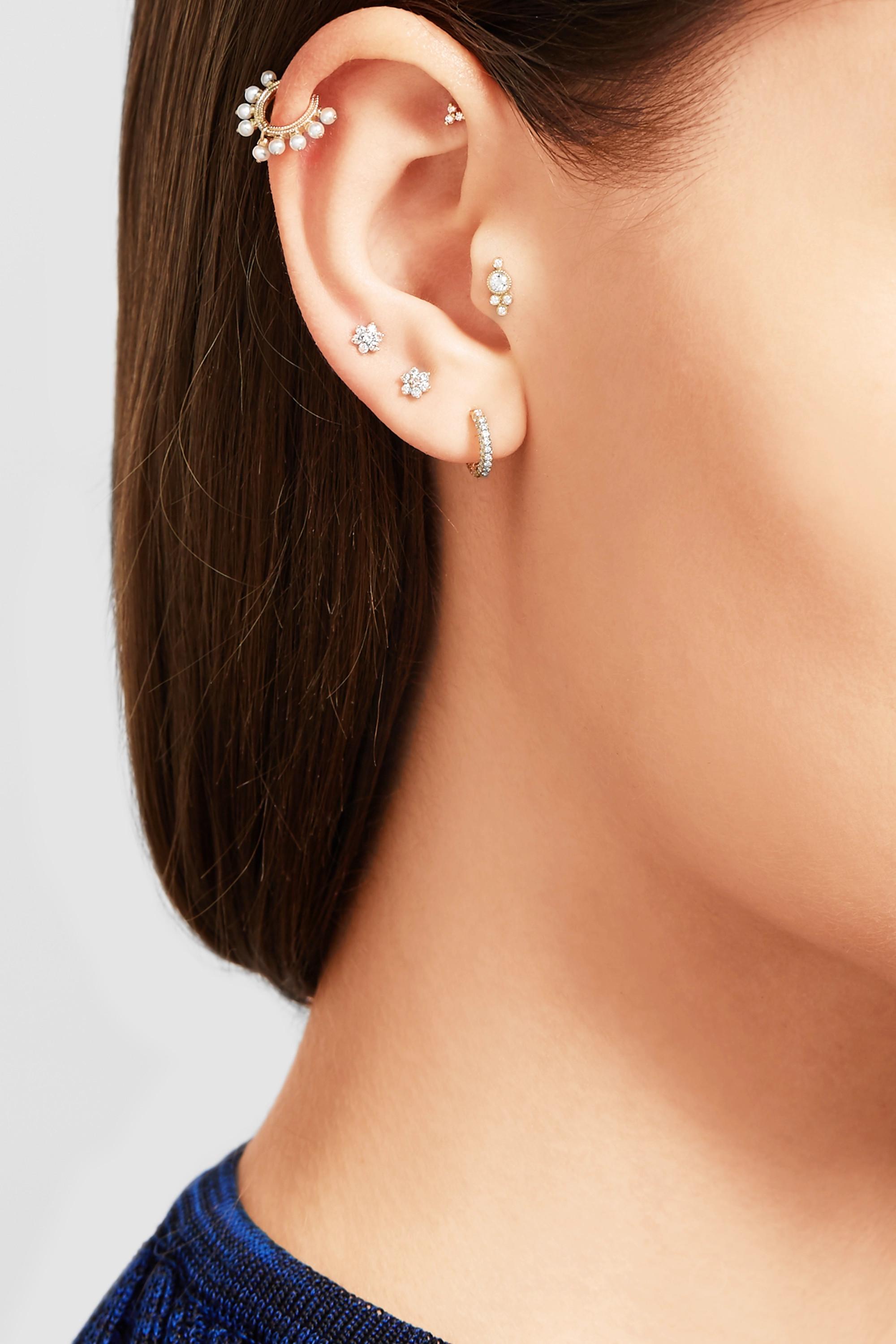 MARIA TASH 4mm 18-karat gold diamond earring