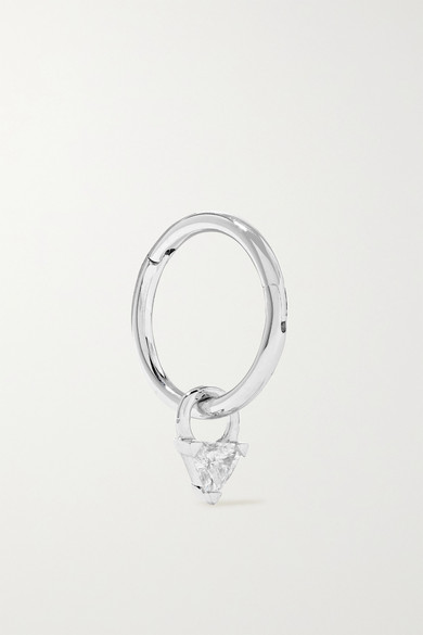 Maria Tash 18-KARAT WHITE GOLD DIAMOND HOOP EARRING