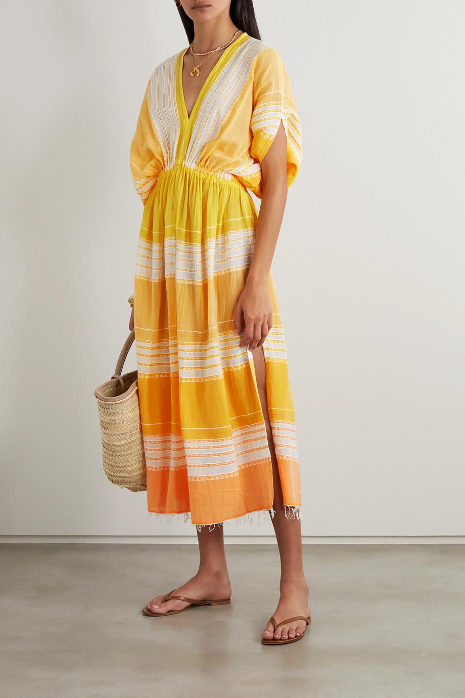 LemLem + NET SUSTAIN Eshal gathered striped cotton-gauze midi dress