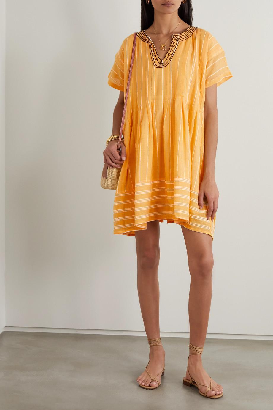 LemLem + NET SUSTAIN Wubet embroidered striped cotton-gauze mini dress