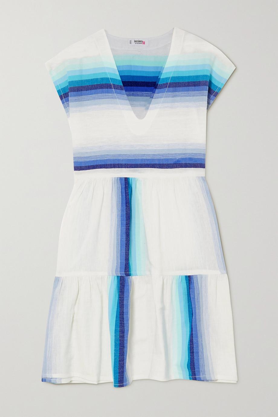 LemLem + NET SUSTAIN Teref tiered striped cotton-blend gauze mini dress