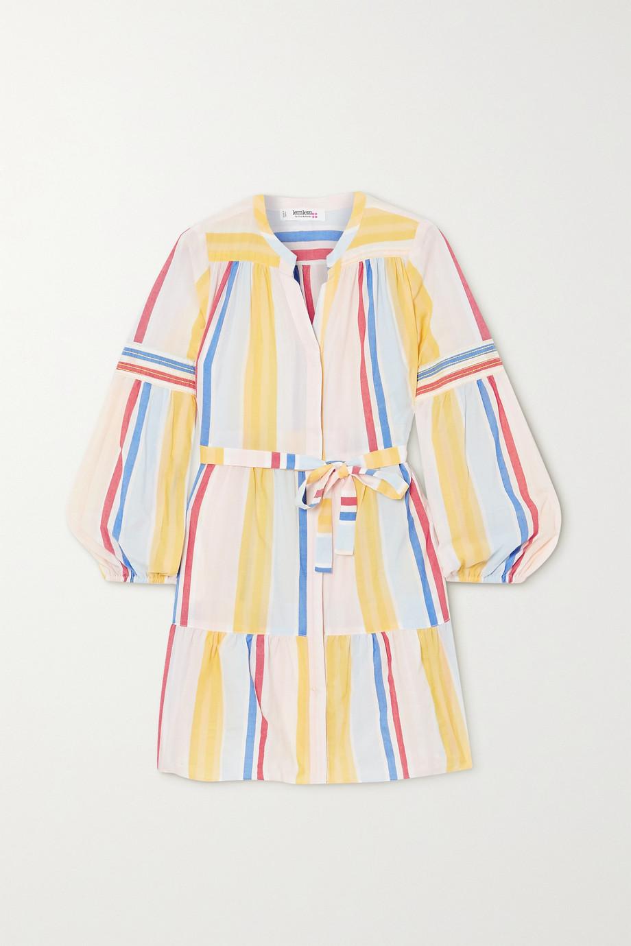 LemLem + NET SUSTAIN Jima belted tiered striped woven mini dress