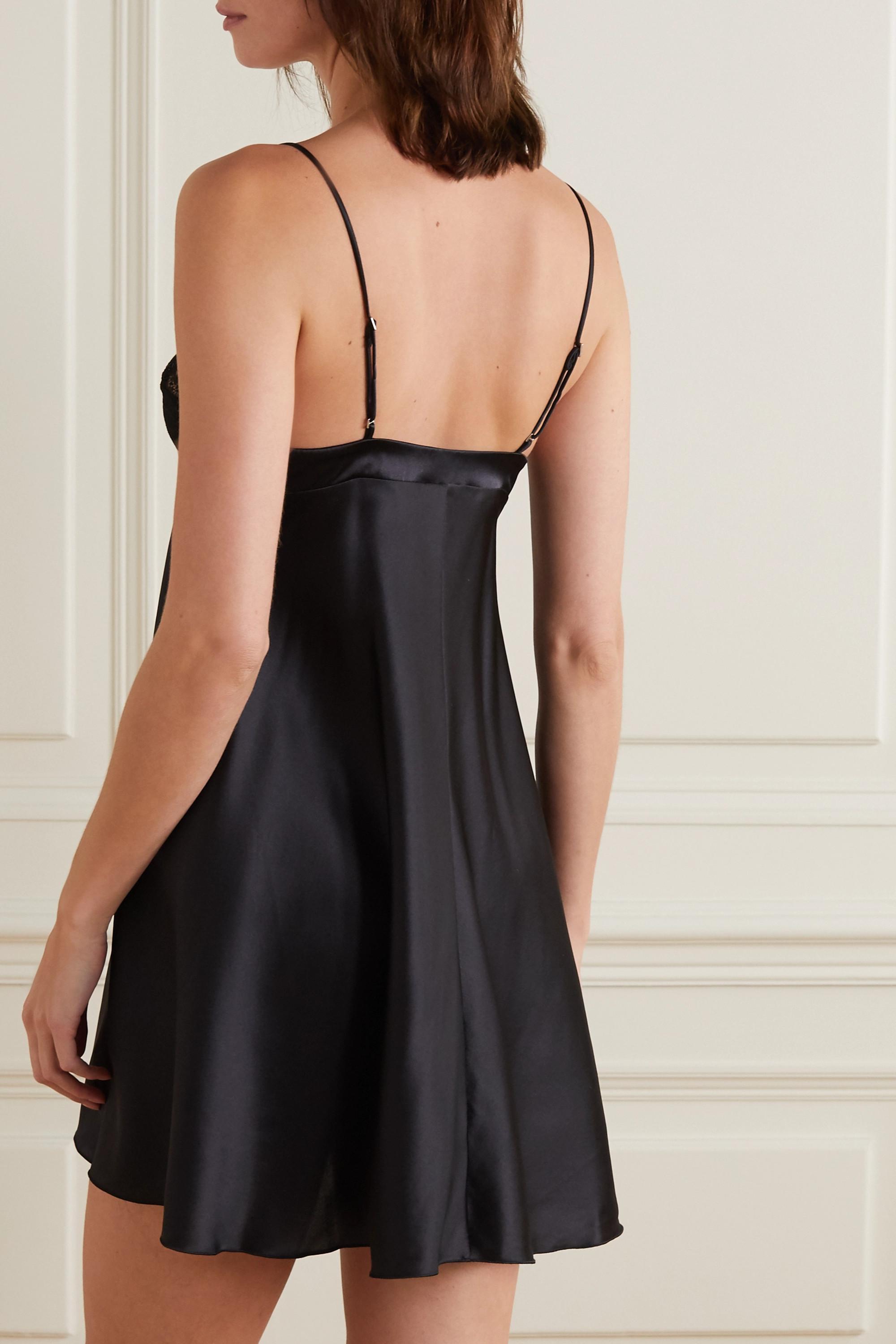 La Perla Adele Leavers lace-trimmed stretch-silk satin chemise