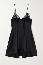 La Perla Adele Leavers lace-trimmed stretch-silk satin chemise