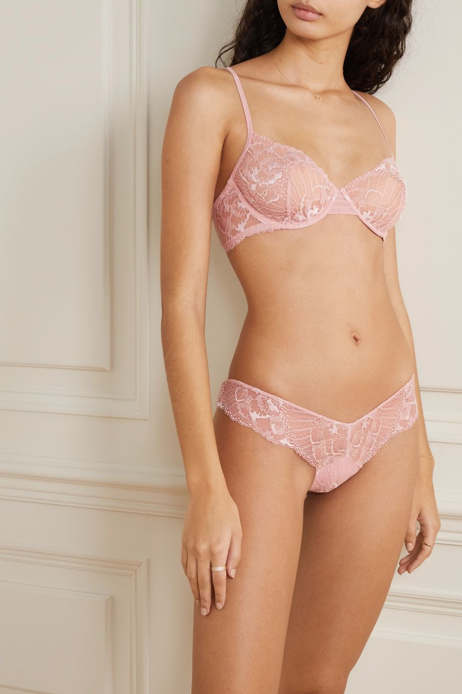La Perla Adele Leavers lace-trimmed stretch-tulle underwired bra